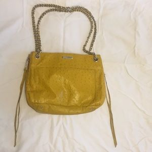 Rebecca Minkoff yellow ostrich-embossed swing bag